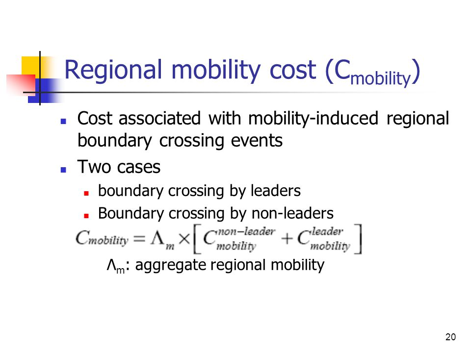 20 Regional mobility cost (C mobility ) Cost associated with mobility-induced regional boundary crossing events Two cases boundary crossing by leaders Boundary crossing by non-leaders Λ m : aggregate regional mobility