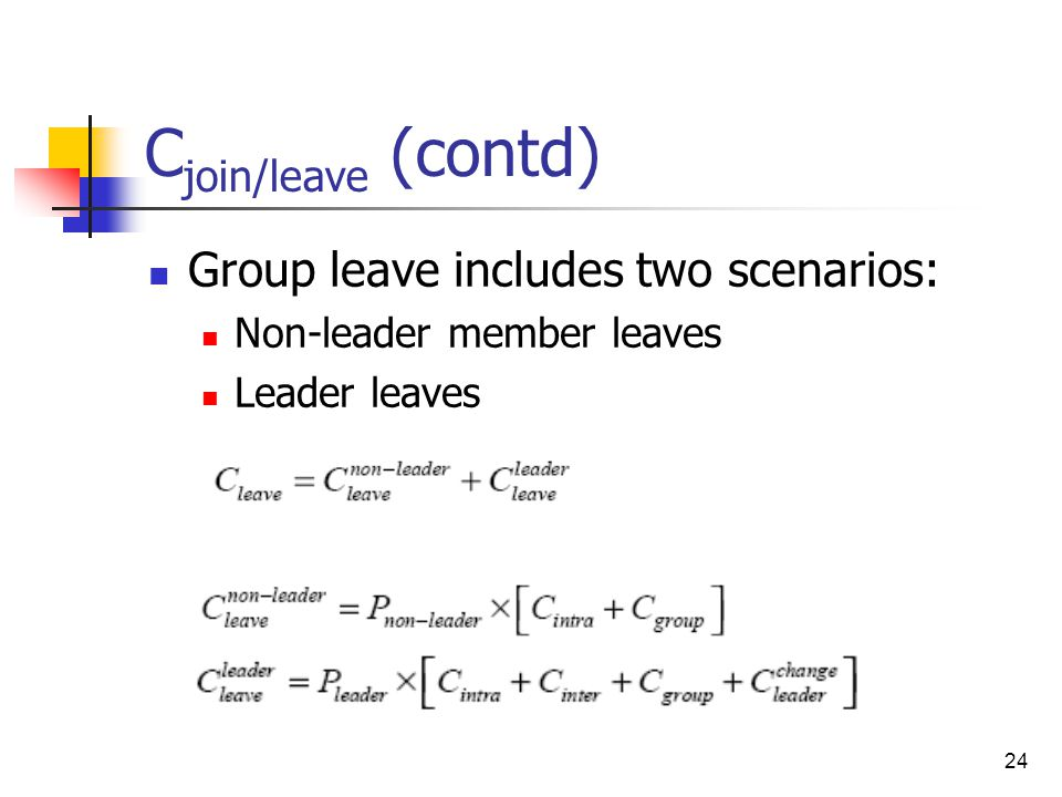 24 C join/leave (contd) Group leave includes two scenarios: Non-leader member leaves Leader leaves