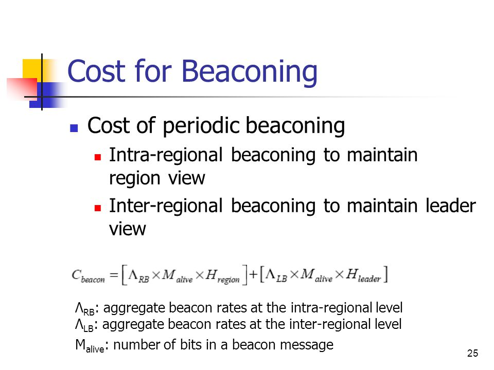 25 Cost for Beaconing Cost of periodic beaconing Intra-regional beaconing to maintain region view Inter-regional beaconing to maintain leader view Λ RB : aggregate beacon rates at the intra-regional level Λ LB : aggregate beacon rates at the inter-regional level M alive : number of bits in a beacon message