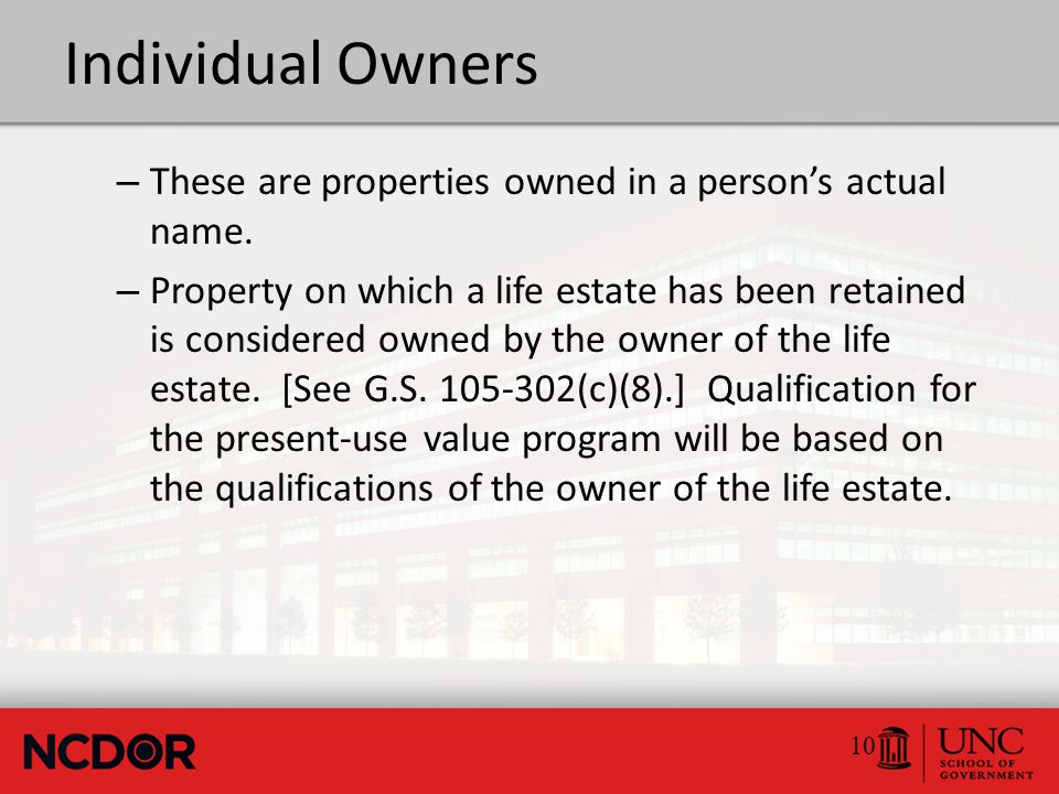 Individual Owners – These are properties owned in a person's actual name.