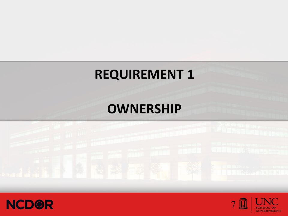 Ownership Requirements  Ownership requirements can be divided into two main areas.