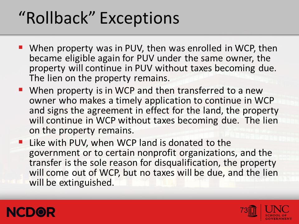 Application  In addition to the actual application (Form AV- 56), the property owner must also execute a conservation agreement with the NCWRC.