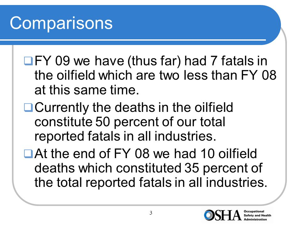 3 Comparisons  FY 09 we have (thus far) had 7 fatals in the oilfield which are two less than FY 08 at this same time.