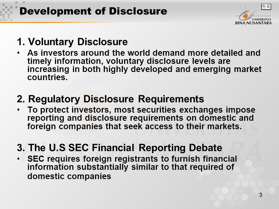 3 Development of Disclosure 1.