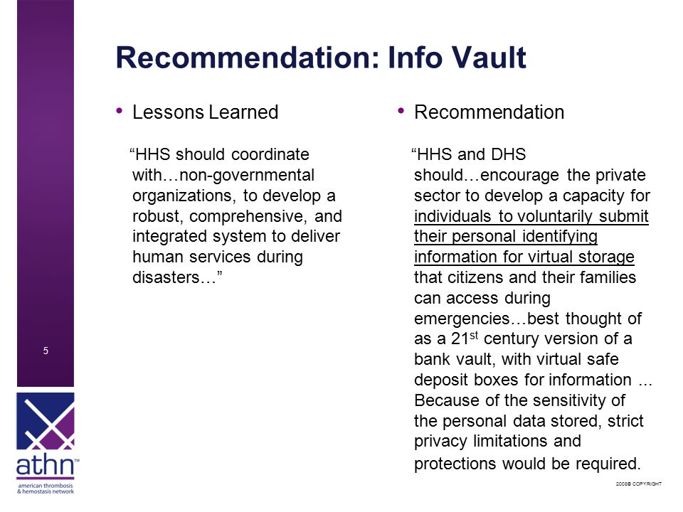 2008© COPYRIGHT 5 Recommendation: Info Vault Lessons Learned HHS should coordinate with…non-governmental organizations, to develop a robust, comprehensive, and integrated system to deliver human services during disasters… Recommendation HHS and DHS should…encourage the private sector to develop a capacity for individuals to voluntarily submit their personal identifying information for virtual storage that citizens and their families can access during emergencies…best thought of as a 21 st century version of a bank vault, with virtual safe deposit boxes for information...
