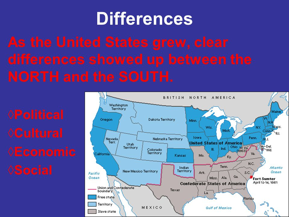 Differences As the United States grew, clear differences showed up between the NORTH and the SOUTH.