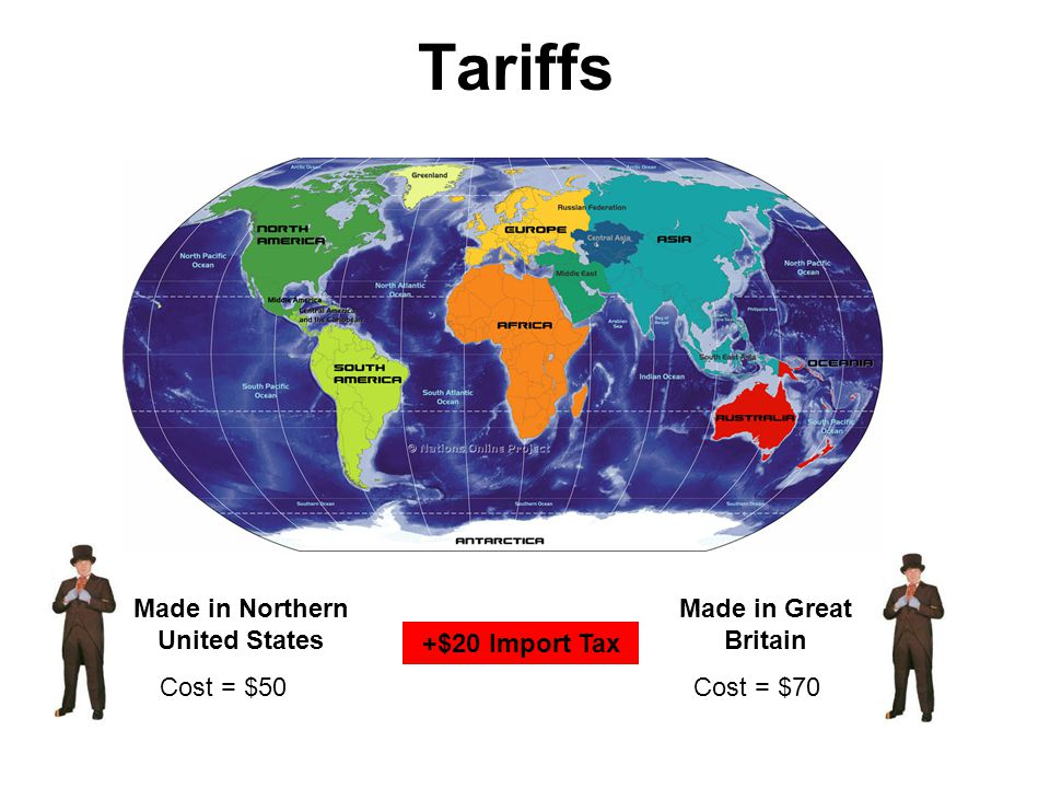 Tariffs Cost = $50 Made in Northern United States Made in Great Britain Cost = $70 +$20 Import Tax
