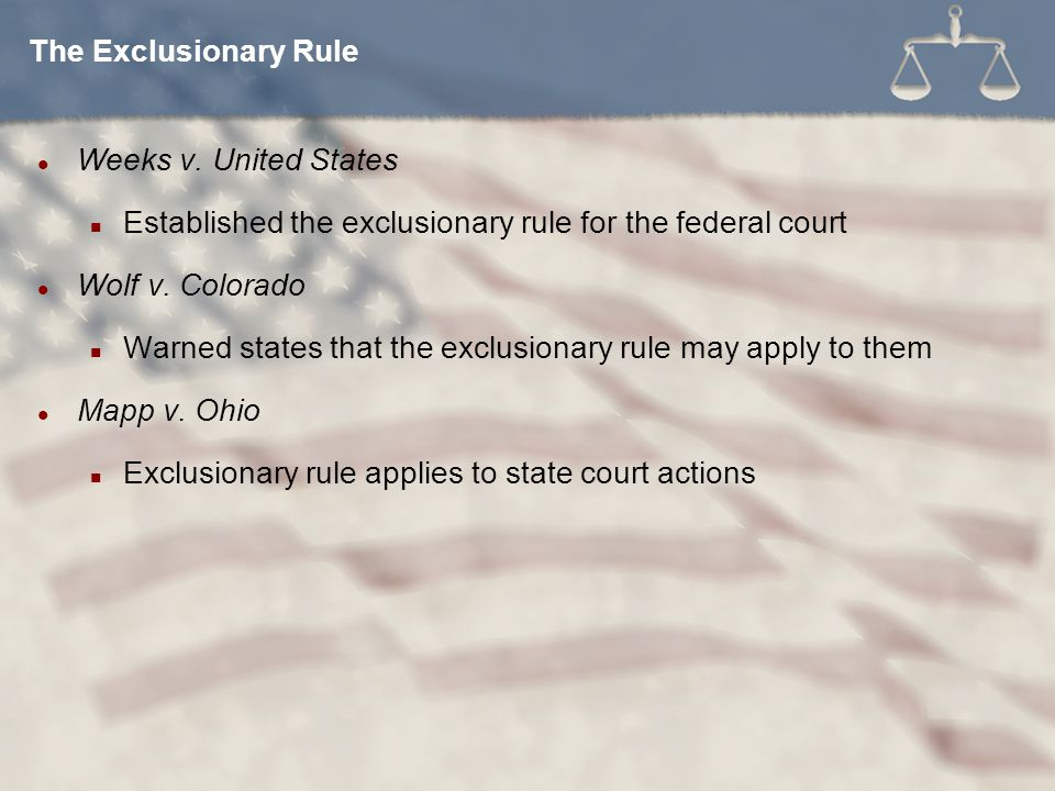 Weeks v.United States Established the exclusionary rule for the federal court Wolf v.