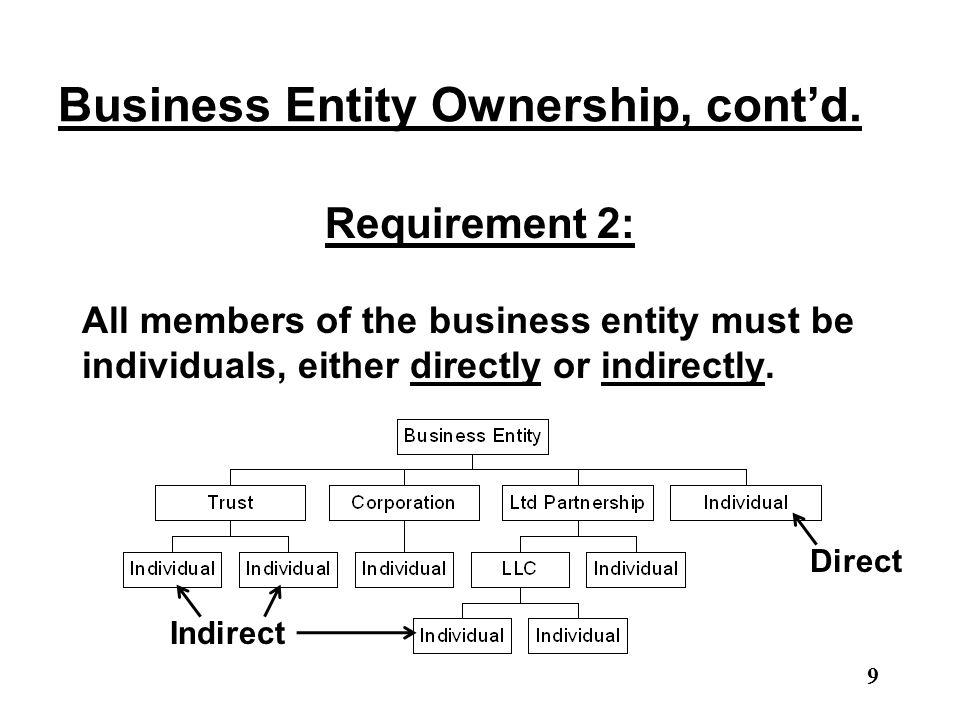 Business Entity Ownership, cont'd. Requirement 2: All members of the business entity must be individuals, either directly or indirectly. 9 Direct Indi