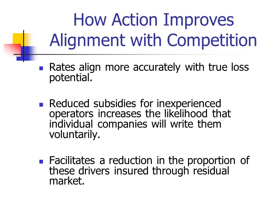 How Action Improves Alignment with Competition Rates align more accurately with true loss potential. Reduced subsidies for inexperienced operators inc