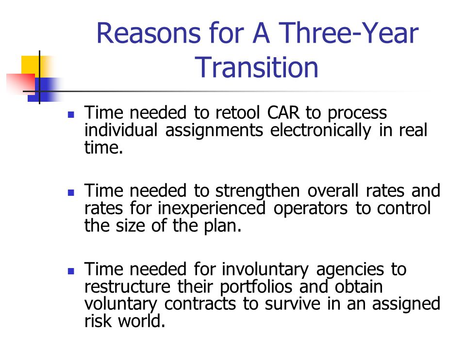 Reasons for A Three-Year Transition Time needed to retool CAR to process individual assignments electronically in real time. Time needed to strengthen