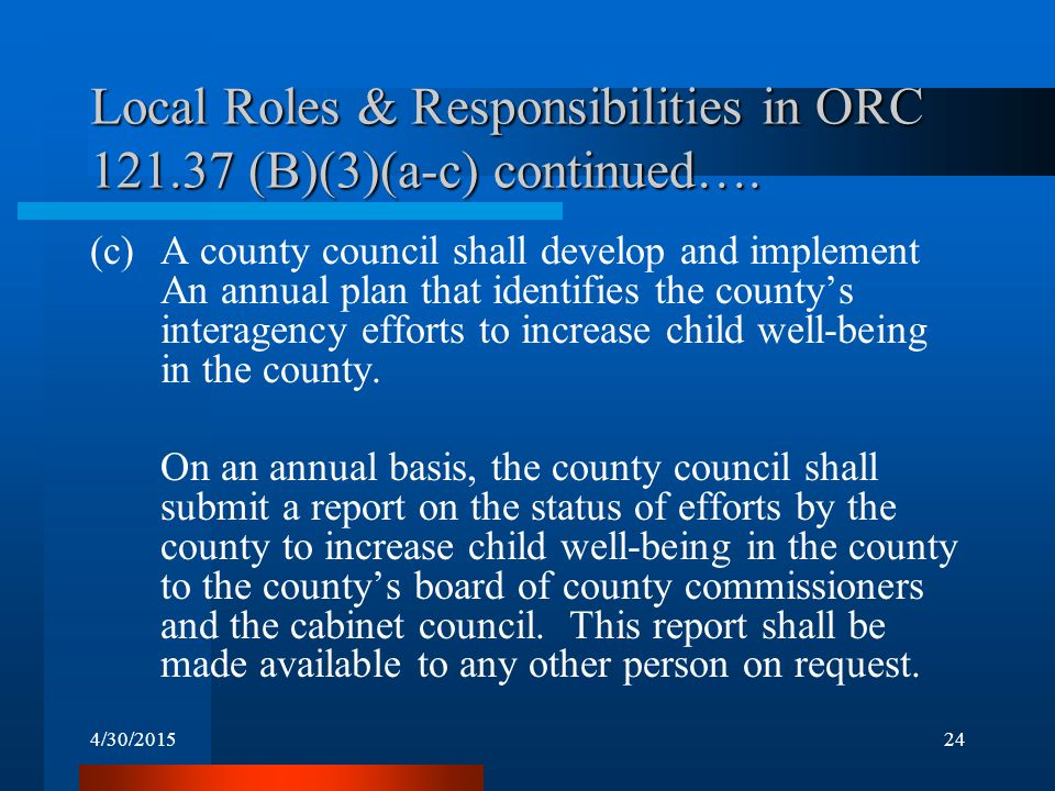 4/30/201524 Local Roles & Responsibilities in ORC 121.37 (B)(3)(a-c) continued…. (c)A county council shall develop and implement An annual plan that i