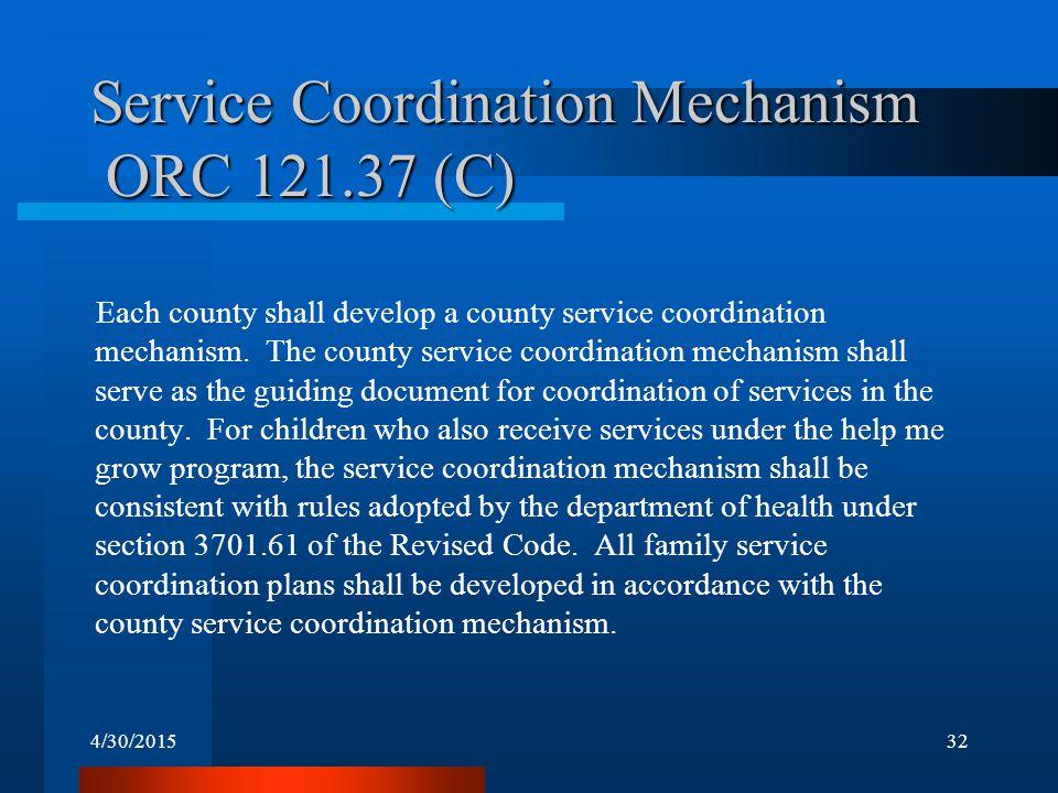 4/30/201532 Service Coordination Mechanism ORC 121.37 (C) Each county shall develop a county service coordination mechanism.