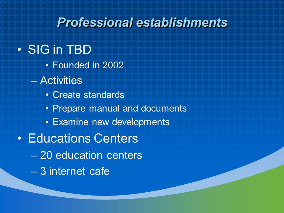 Professional establishments SIG in TBD Founded in 2002 –Activities Create standards Prepare manual and documents Examine new developments Educations Centers –20 education centers –3 internet cafe