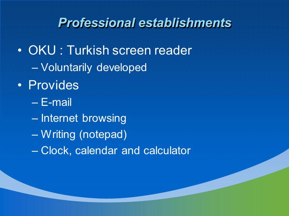 Professional establishments OKU : Turkish screen reader –Voluntarily developed Provides –E-mail –Internet browsing –Writing (notepad) –Clock, calendar