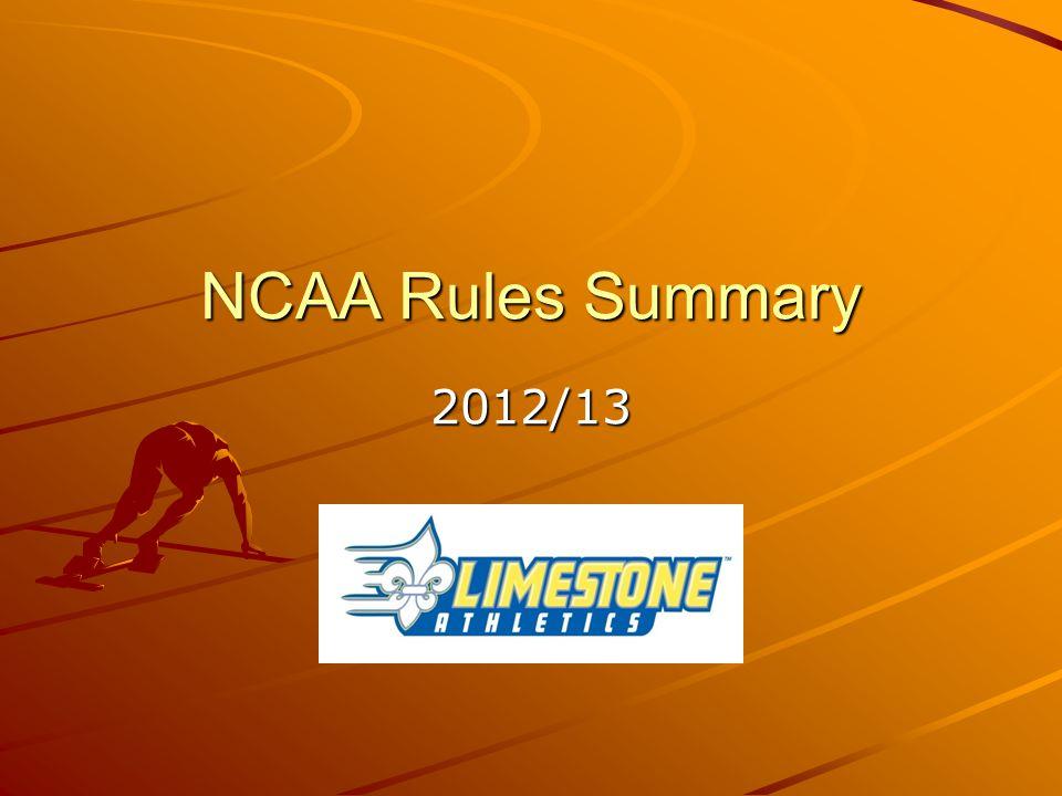 NCAA Rules Summary 2012/13