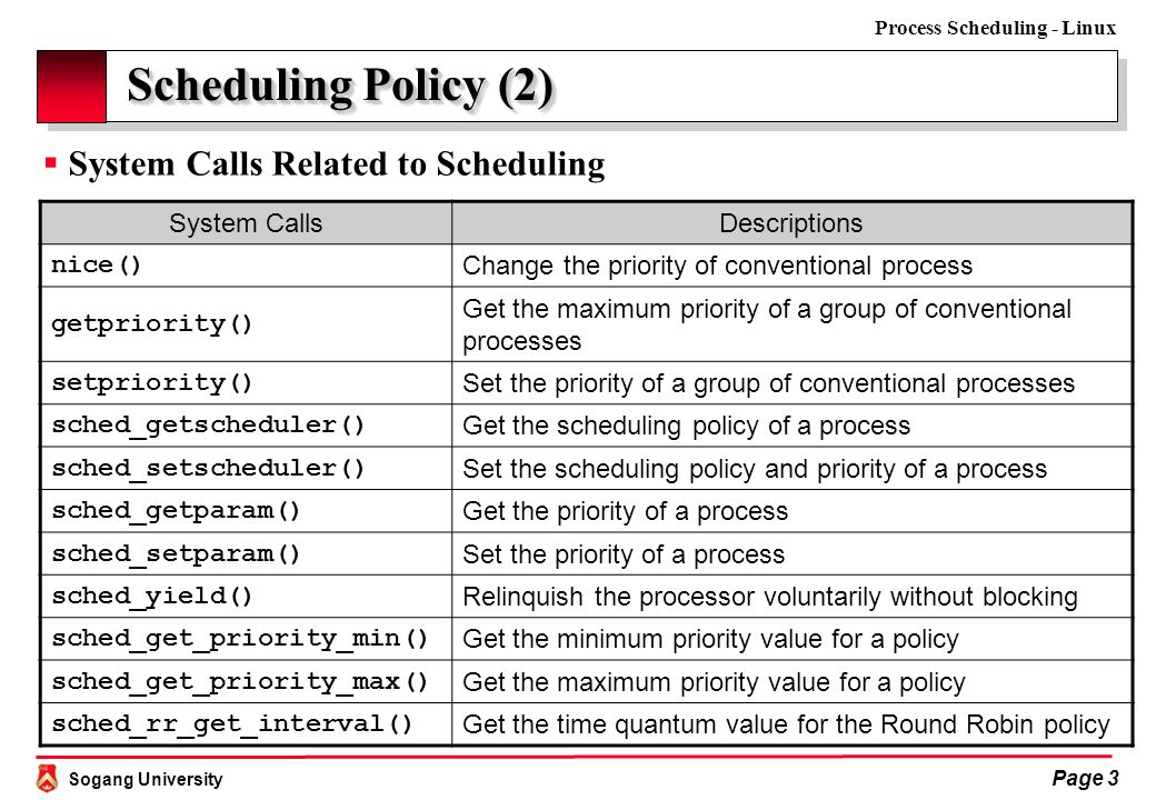 Sogang University Process Scheduling - Linux Page 4 Scheduling Policy (3)  Process Classification  CPU usage: I/O-bound vs.