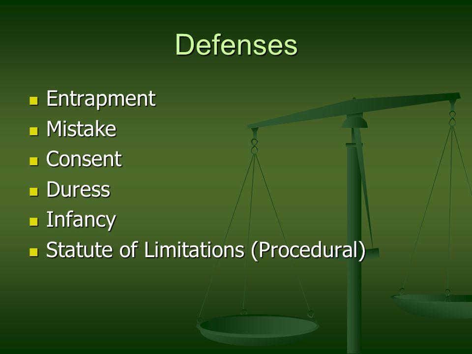 Defenses Entrapment Entrapment Mistake Mistake Consent Consent Duress Duress Infancy Infancy Statute of Limitations (Procedural) Statute of Limitation