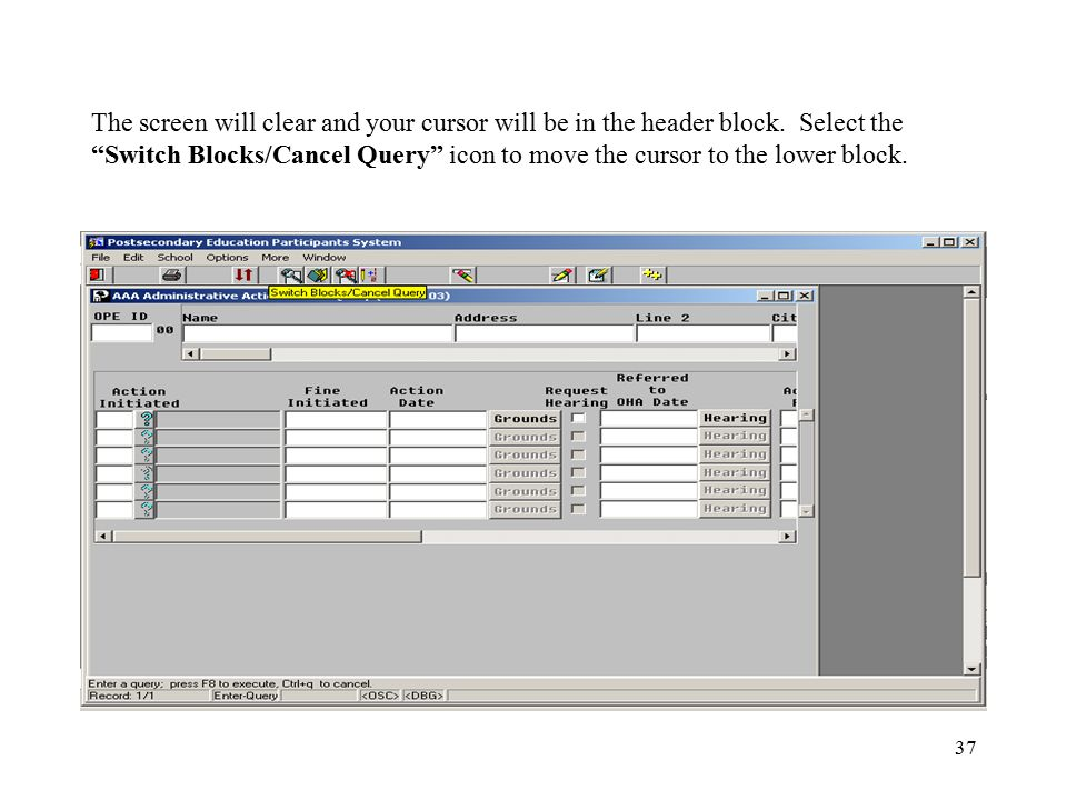 """37 The screen will clear and your cursor will be in the header block. Select the """"Switch Blocks/Cancel Query"""" icon to move the cursor to the lower blo"""