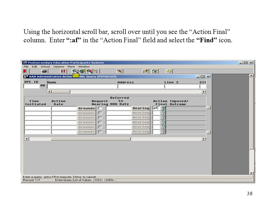"""38 Using the horizontal scroll bar, scroll over until you see the """"Action Final"""" column. Enter """":af"""" in the """"Action Final"""" field and select the """"Find"""""""