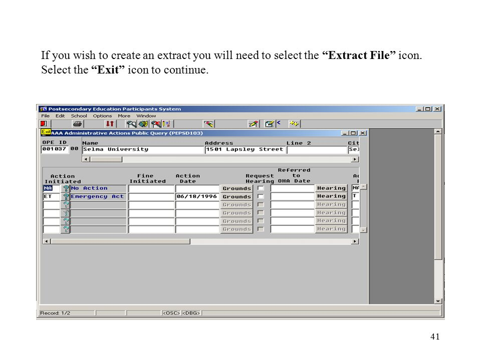 41 If you wish to create an extract you will need to select the Extract File icon.