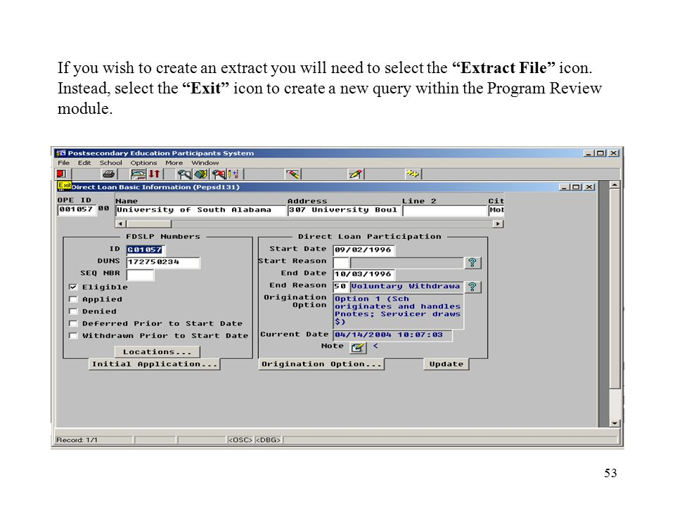 53 If you wish to create an extract you will need to select the Extract File icon.