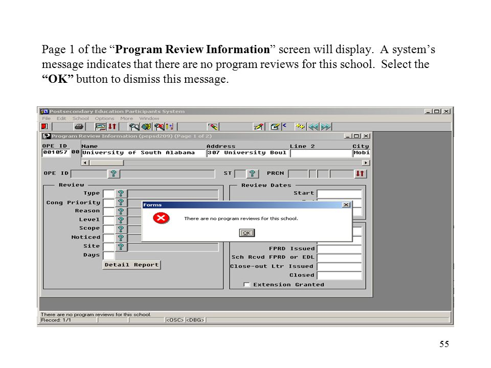 55 Page 1 of the Program Review Information screen will display.