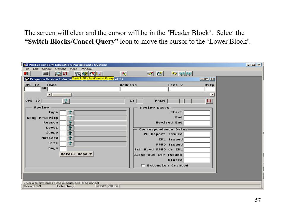 """57 The screen will clear and the cursor will be in the 'Header Block'. Select the """"Switch Blocks/Cancel Query"""" icon to move the cursor to the 'Lower B"""