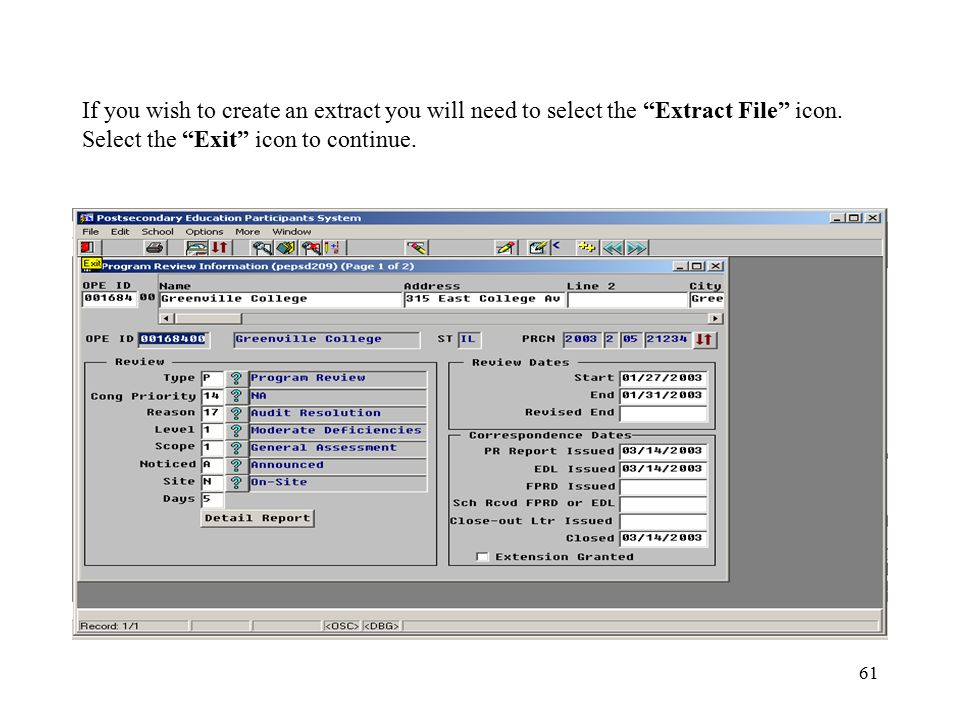 61 If you wish to create an extract you will need to select the Extract File icon.