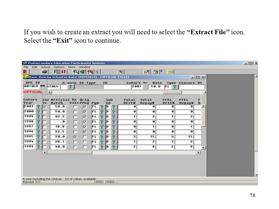78 If you wish to create an extract you will need to select the Extract File icon.