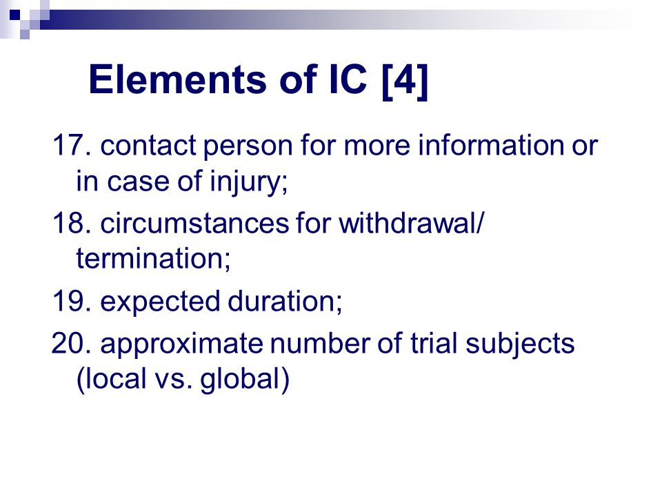 Elements of IC [4] 17.contact person for more information or in case of injury; 18.