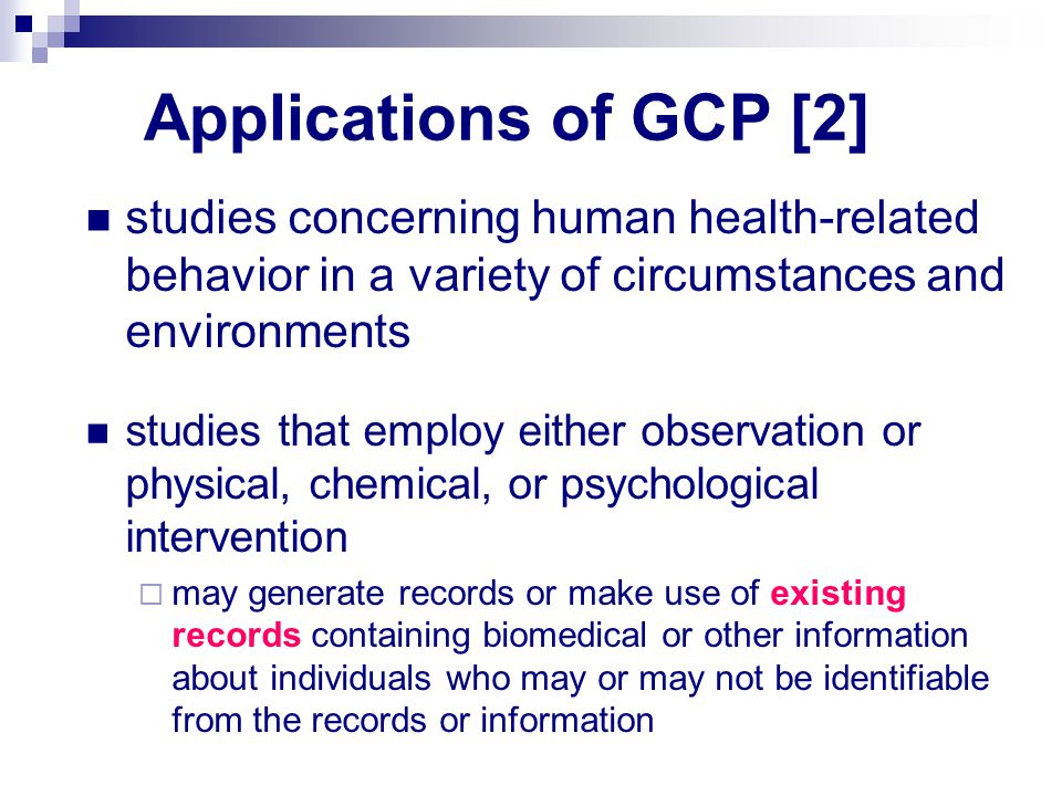 Applications of GCP [2] studies concerning human health-related behavior in a variety of circumstances and environments studies that employ either obs