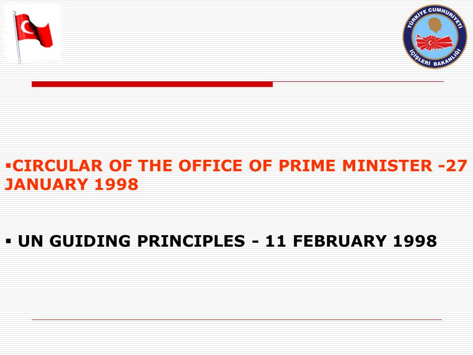  CIRCULAR OF THE OFFICE OF PRIME MINISTER -27 JANUARY 1998  UN GUIDING PRINCIPLES - 11 FEBRUARY 1998