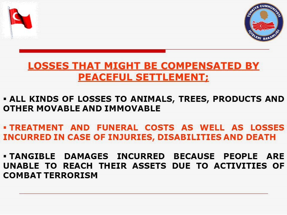 LOSSES THAT MIGHT BE COMPENSATED BY PEACEFUL SETTLEMENT;  ALL KINDS OF LOSSES TO ANIMALS, TREES, PRODUCTS AND OTHER MOVABLE AND IMMOVABLE  TREATMENT AND FUNERAL COSTS AS WELL AS LOSSES INCURRED IN CASE OF INJURIES, DISABILITIES AND DEATH  TANGIBLE DAMAGES INCURRED BECAUSE PEOPLE ARE UNABLE TO REACH THEIR ASSETS DUE TO ACTIVITIES OF COMBAT TERRORISM