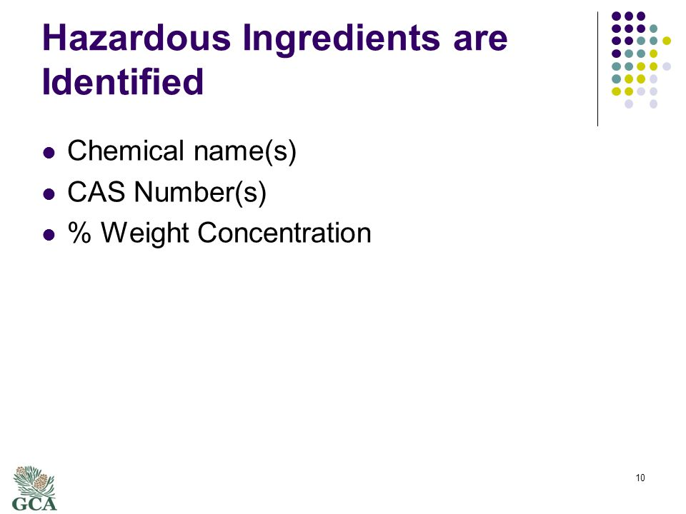 Hazardous Ingredients are Identified Chemical name(s) CAS Number(s) % Weight Concentration 10