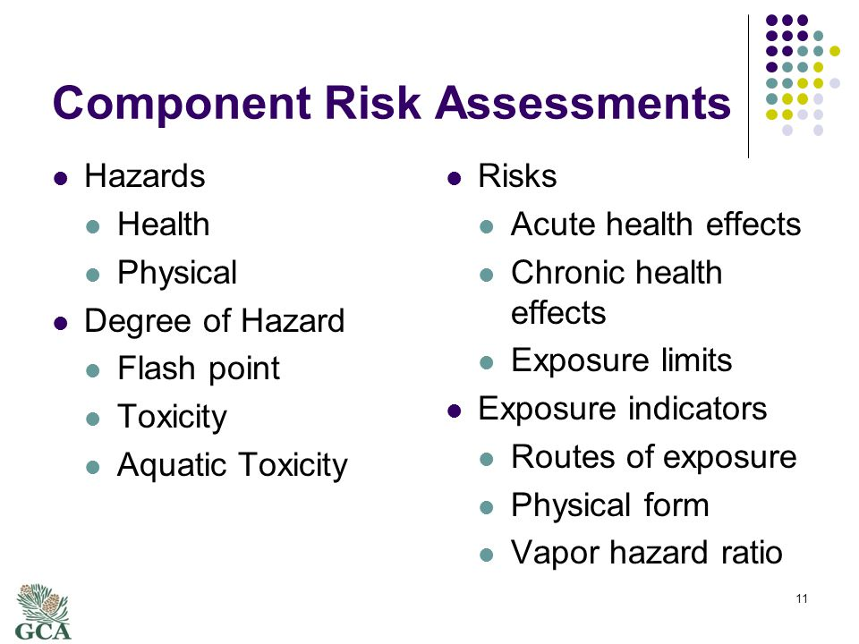 Component Risk Assessments Hazards Health Physical Degree of Hazard Flash point Toxicity Aquatic Toxicity Risks Acute health effects Chronic health effects Exposure limits Exposure indicators Routes of exposure Physical form Vapor hazard ratio 11
