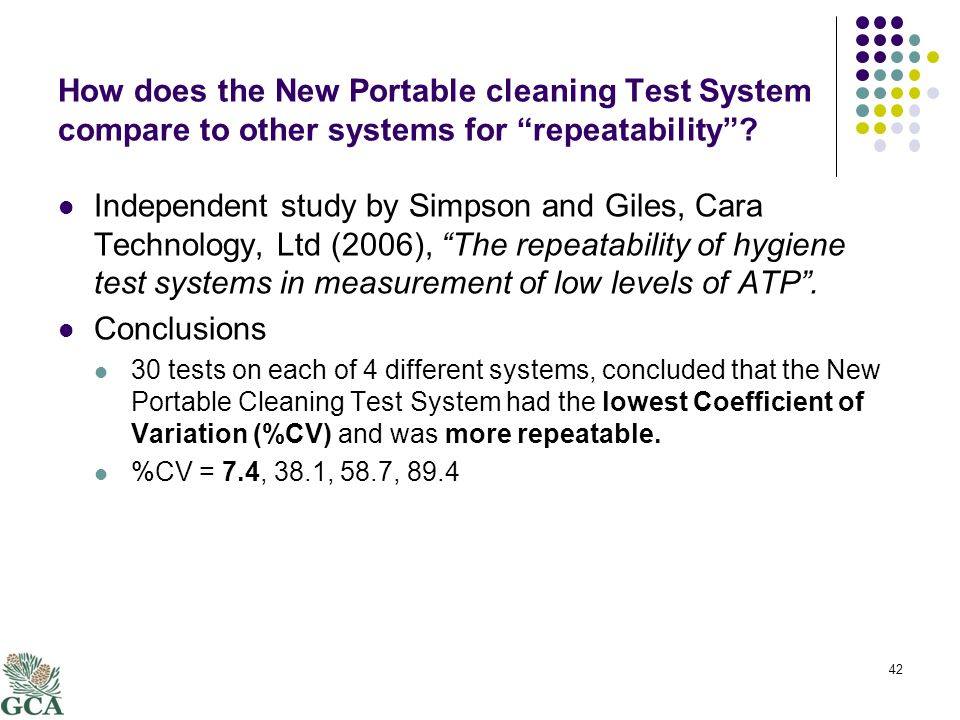 How does the New Portable cleaning Test System compare to other systems for repeatability .