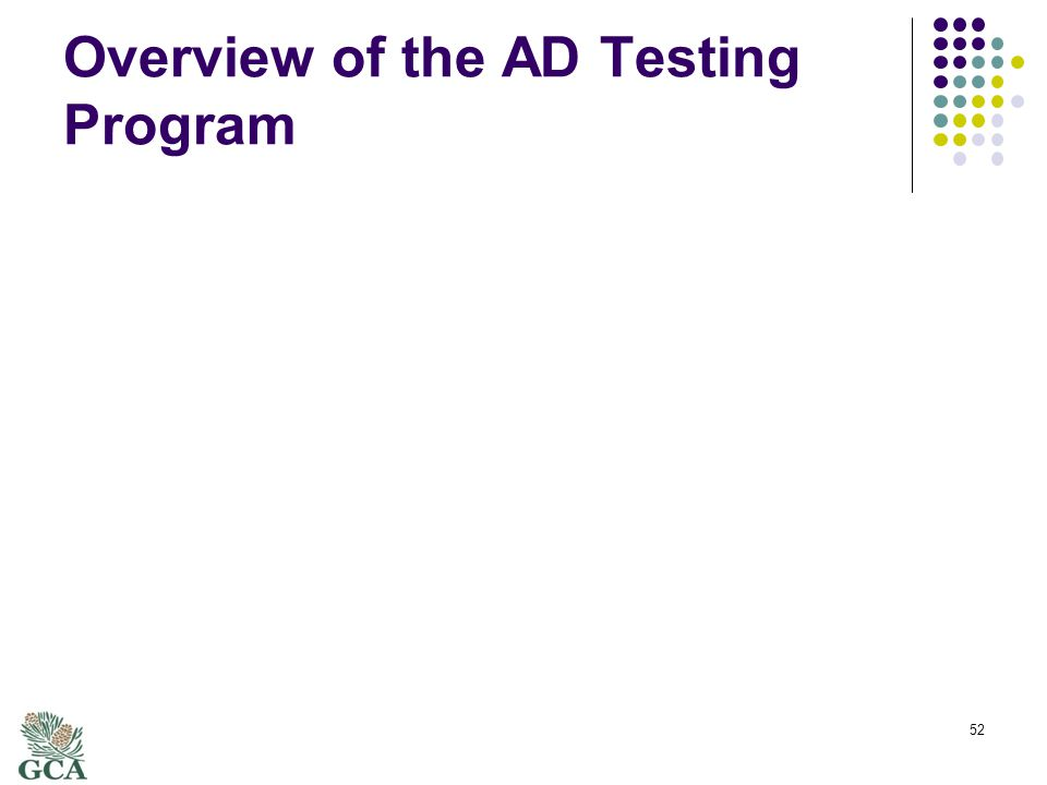 Overview of the AD Testing Program 52