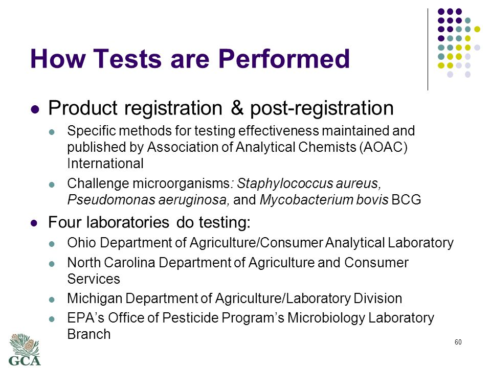 How Tests are Performed Product registration & post-registration Specific methods for testing effectiveness maintained and published by Association of Analytical Chemists (AOAC) International Challenge microorganisms: Staphylococcus aureus, Pseudomonas aeruginosa, and Mycobacterium bovis BCG Four laboratories do testing: Ohio Department of Agriculture/Consumer Analytical Laboratory North Carolina Department of Agriculture and Consumer Services Michigan Department of Agriculture/Laboratory Division EPA's Office of Pesticide Program's Microbiology Laboratory Branch 60