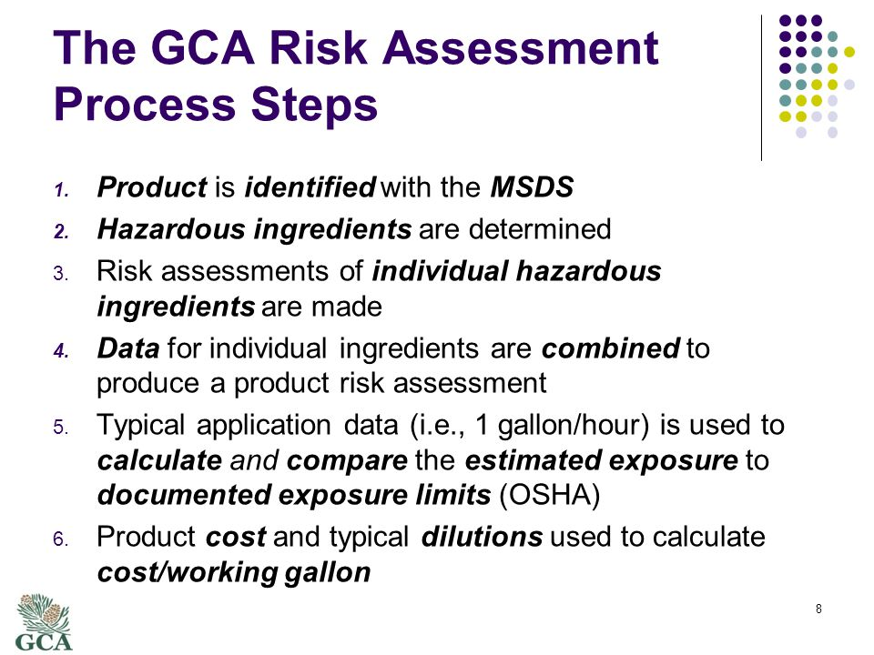 The GCA Risk Assessment Process Steps 1. Product is identified with the MSDS 2.