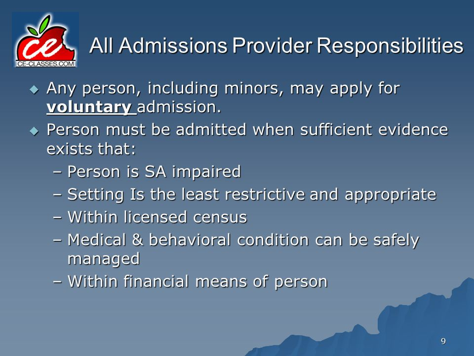 30 Alternative Involuntary Assessment -- Minors Admission to Juvenile Addiction Receiving Facility for minor meeting involuntary criteria upon application from: –Parent, –Guardian, or –Legal custodian Application must establish need for immediate admission and contain specific information, including reasons why applicant believes criteria is met.