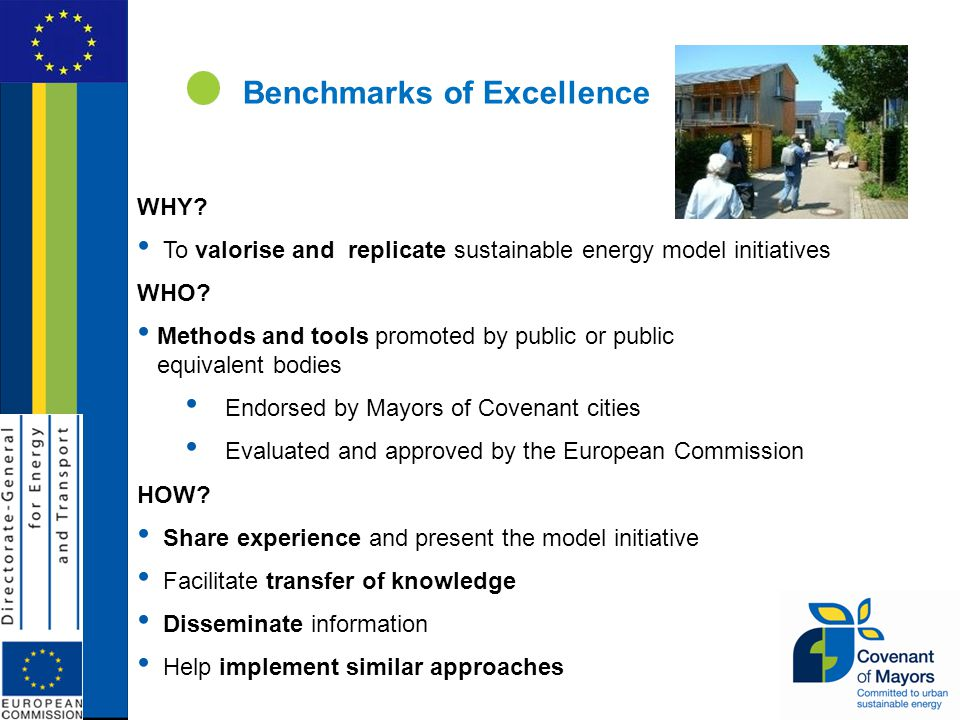 Benchmarks of Excellence WHY. To valorise and replicate sustainable energy model initiatives WHO.