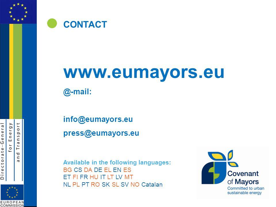CONTACT www.eumayors.eu @-mail: info@eumayors.eu press@eumayors.eu Available in the following languages: BG CS DA DE EL EN ES ET FI FR HU IT LT LV MT NL PL PT RO SK SL SV NO Catalan