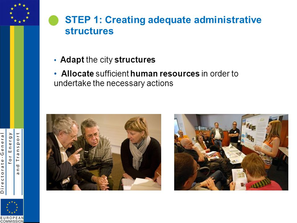 STEP 1: Creating adequate administrative structures Adapt the city structures Allocate sufficient human resources in order to undertake the necessary actions