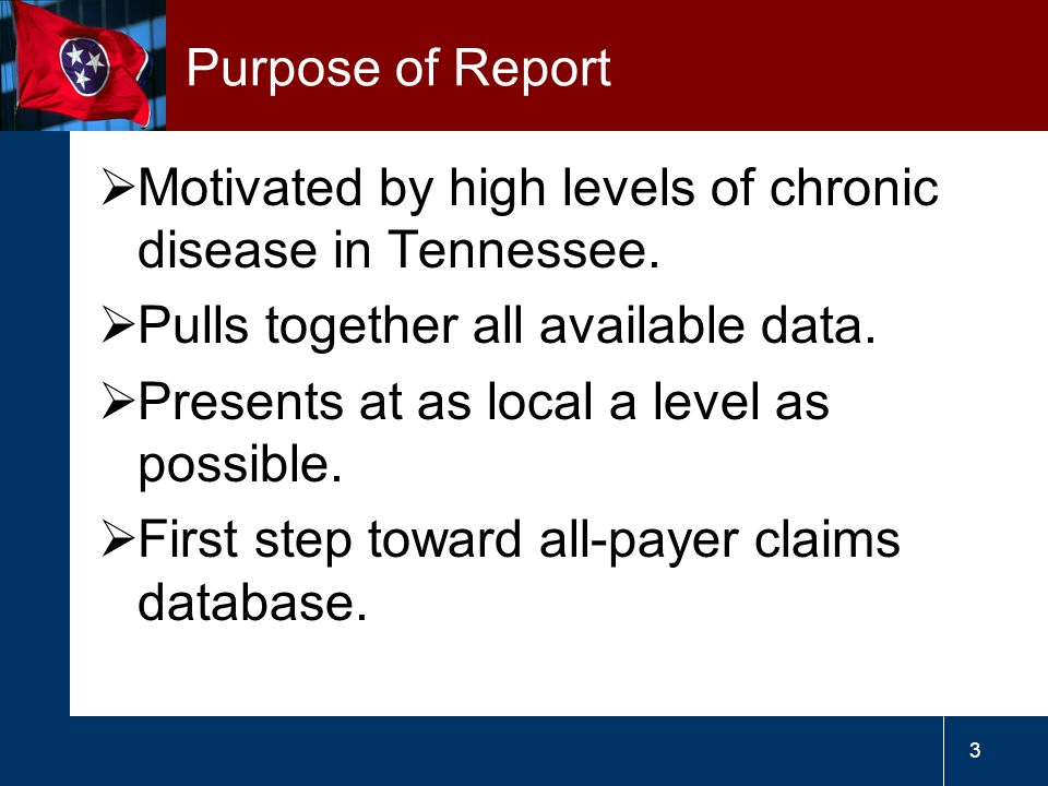 3 Purpose of Report  Motivated by high levels of chronic disease in Tennessee.