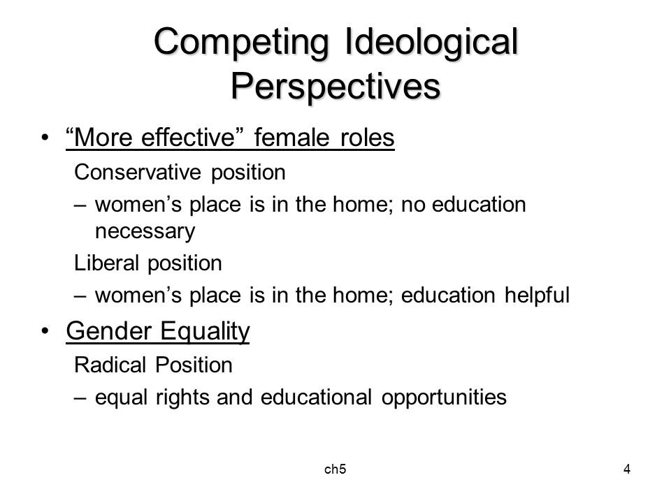 ch54 Competing Ideological Perspectives More effective female roles Conservative position –women's place is in the home; no education necessary Liberal position –women's place is in the home; education helpful Gender Equality Radical Position –equal rights and educational opportunities