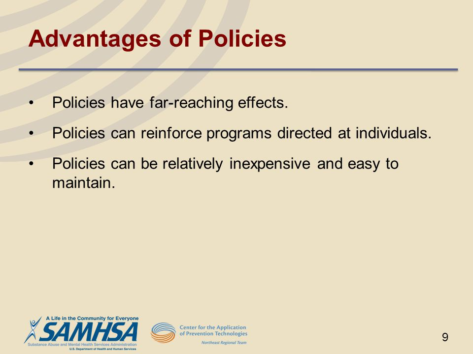 10 Categories of Policies Economic Reduced access and availability Location and density Deterrence Restricted use Limited marketing of products