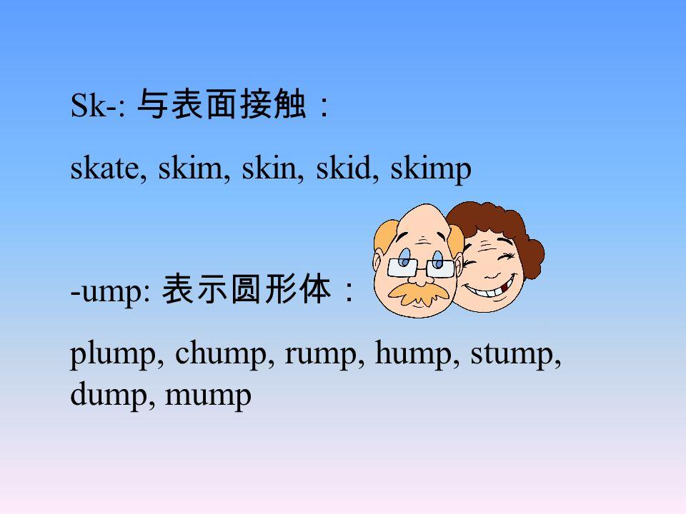Sk-: 与表面接触: skate, skim, skin, skid, skimp -ump: 表示圆形体: plump, chump, rump, hump, stump, dump, mump
