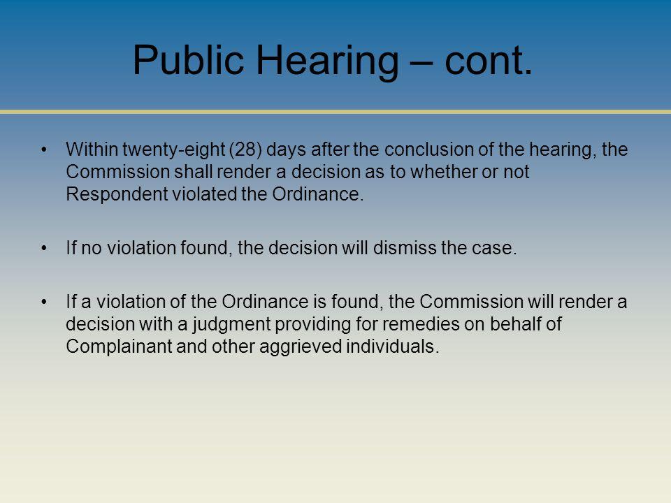 Public Hearing – cont.