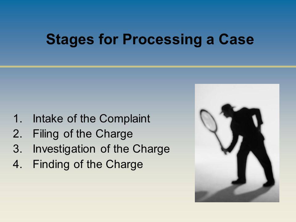 Stages for Processing a Case 1.Intake of the Complaint 2.Filing of the Charge 3.Investigation of the Charge 4.Finding of the Charge